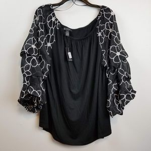 INC international concepts floral 3/4 sleeve top